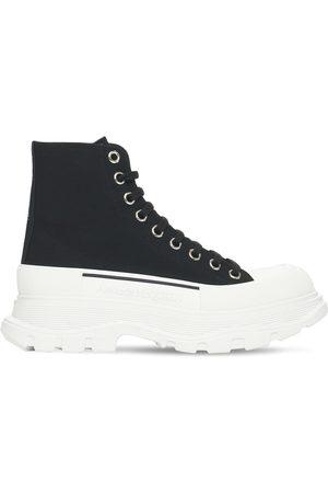 Alexander McQueen Women Boots - 45mm Tread Slick Canvas Combat Boots