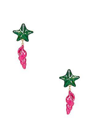 Saint Laurent Star and Seashell Earrings in Light & &