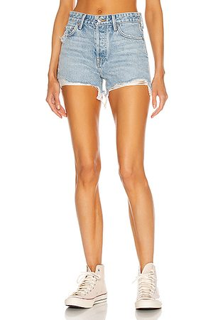 GRLFRND Women Shorts - Helena High Rise Cut Off Short in Newport