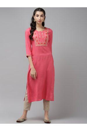 Cayman Women Pink Ethnic Motifs Yoke Design Sequins Straight Kurta