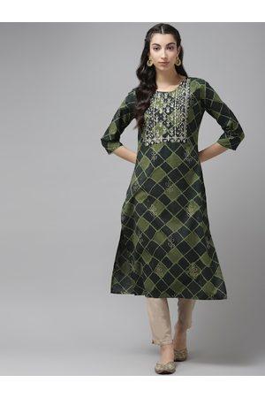 Cayman Women Green & Golden Checked Sequins Straight Kurta