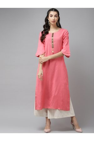 Cayman Women Pink Flared Sleeves Yoke Design Thread Work Straight Kurta