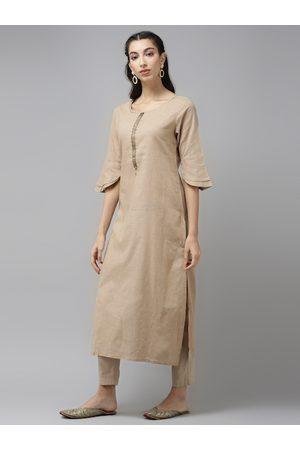 Cayman Women Beige Yoke Design Pure Cotton Bell Sleeves Straight Kurta