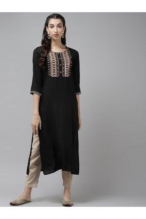 Cayman Women Black & Golden Ethnic Motifs Yoke Design Sequins Straight Kurta