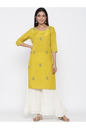Jaipur Women Lime Yellow & White Floral Embroidered Kurta with Palazzos