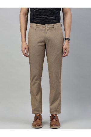 Louis Philippe Men Khaki Slim Fit Self-Design Regular Trousers