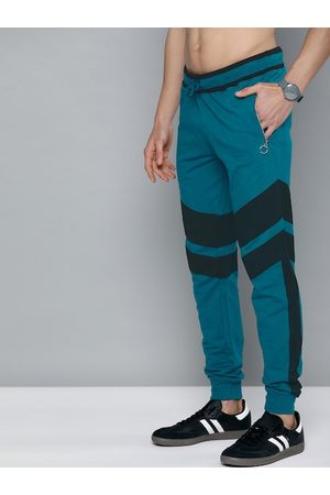 HERE&NOW Men Blue Striped Cotton Joggers