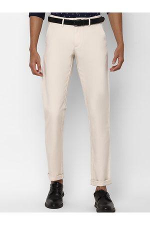 Allen Solly Men Beige Slim Fit Solid Regular Trousers
