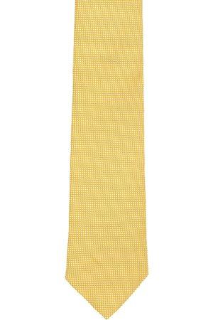 Louis Philippe Men Yellow Woven Design Silk Broad Neck Tie