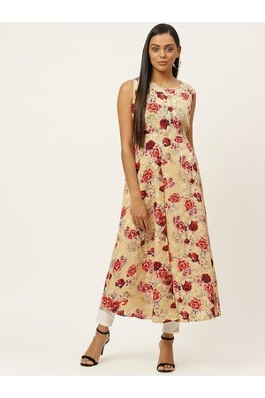 U&F Women Beige & Maroon Floral Printed A-Line Dress