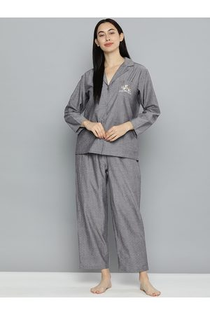 Chemistry Women Grey Self Design Night suit with Embroidery