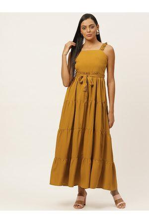 U&F Women Mustard Yellow Solid Tiered Maxi Dress with Belt