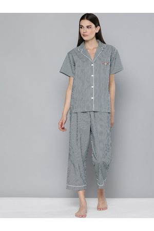 Chemistry Women Black Striped Pure Cotton Night Suit