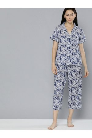 Chemistry Women Navy Blue & White Floral Printed Night suit