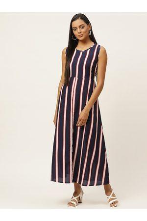 U&F Women Navy Blue Striped A-Line Dress