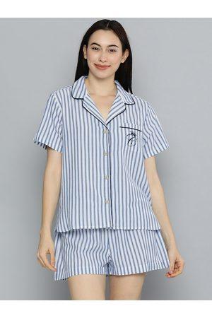Chemistry Women Blue & White Striped Night suit