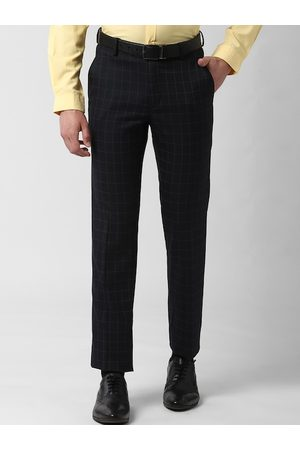 Peter England Men Black Slim Fit Checked Formal Trousers
