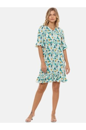 Campus Women Teal Printed A-Line Dress