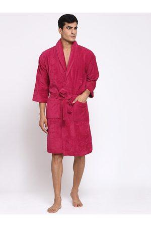Trident Men Fuchsia Pink Self-Design Bath Robe
