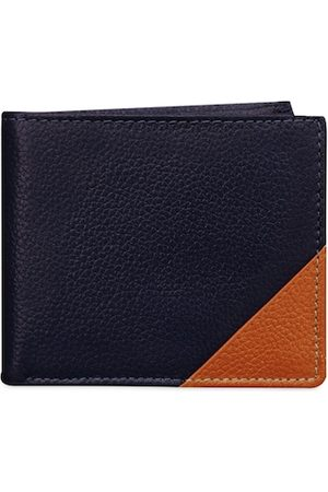ABYS Men Navy Blue & Brown Colourblocked Leather Two Fold Wallet