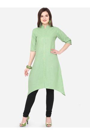 Silk Bazar Women Green Solid Kurta