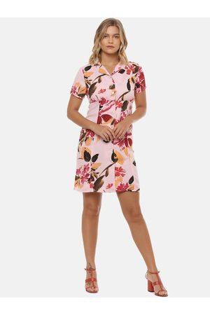 Campus Women Peach-Coloured Floral Printed Shirt Dress