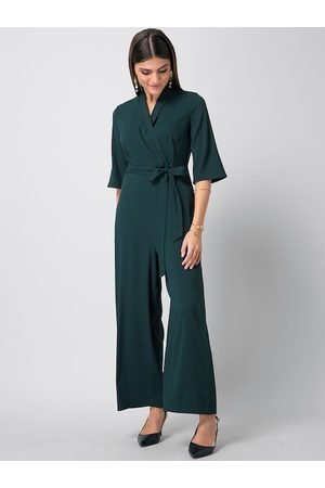 FabAlley Women Teal Green Solid Basic Jumpsuit