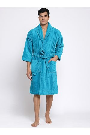 Trident Men Blue Solid Bath Robe