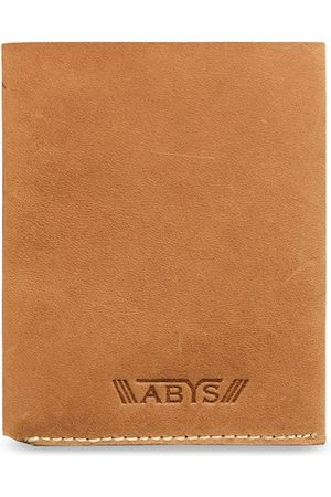 ABYS Men Tan Brown Textured Genuine Leather Card Holder