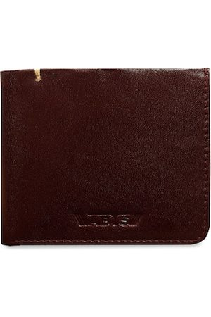 ABYS Men Brown Textured Genuine Leather Two Fold Wallet
