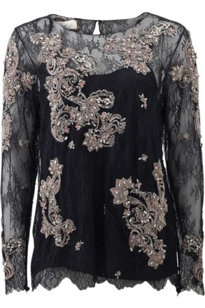 Marchesa Women Tops - Chantilly Lace Top With Beading