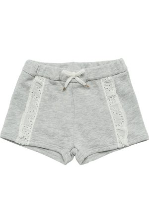 Chloé Embroidered Logo Cotton Sweat Shorts