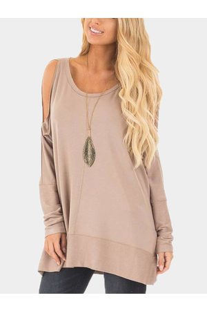 YOINS Cold Shoulder Cut Out Round Neck Long Sleeves T-shirt