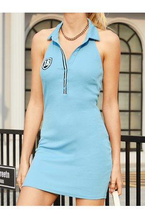 Yoins Halter Backless design Button Front Sleeveless Mini Dress
