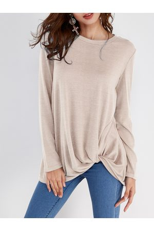YOINS Women Long Sleeve - Pleated Design Round Neck Long Sleeves T-shirts
