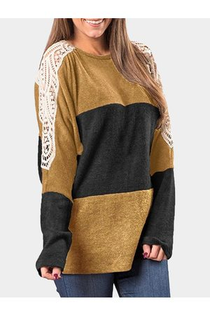 YOINS Lace Details Insert Design Round Neck Long Sleeves T-shirt