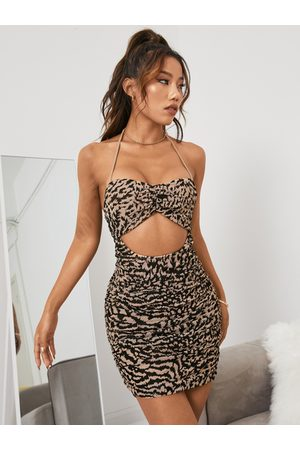 YOINS Women Printed Dresses - Leopard Sexy Cut Out Ruched Halter Sleeveless Mini Dress