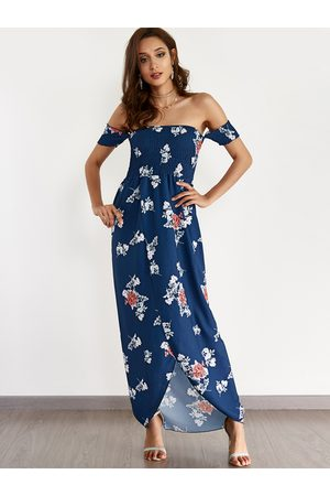YOINS Random Floral Print Off The Shoulder Beach Dress With Slit Hem