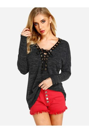 YOINS Sexy Deep V-neck Lace-up Front Casual T-shirts in