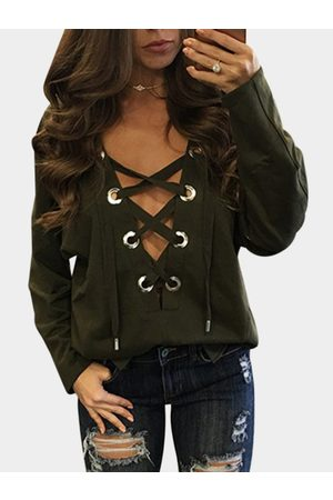 YOINS Amry Sexy Pattern V-neck Lace-up Front Top