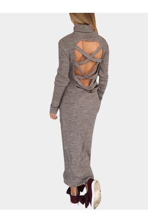 YOINS High Neck Crossed Hollow Out Back Maxi Dress