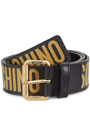 Moschino Logo-Embossed Leather Belt