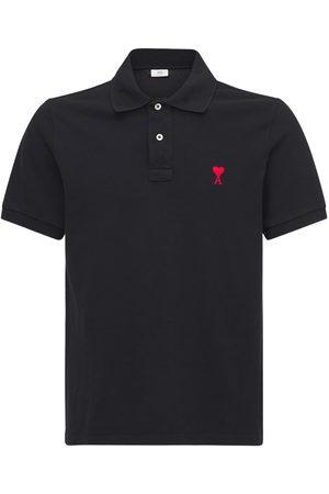 Ami Men Polo Shirts - Embroidered Logo Cotton Pique Polo