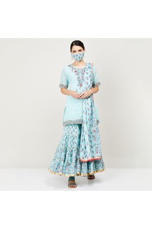 BIBA Women Printed Kurti with Elasticated Flared Palazzos, Dupatta and Mask
