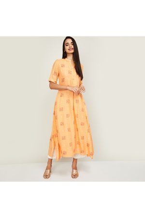 Span Women Checked Short Sleeves A-line Kurta