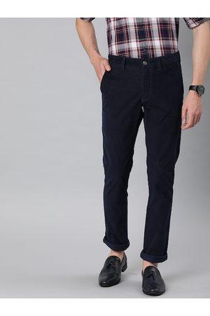 Indian Terrain Men Slim Trousers - Men Navy Blue Brooklyn Slim Fit Self Design Regular Trousers