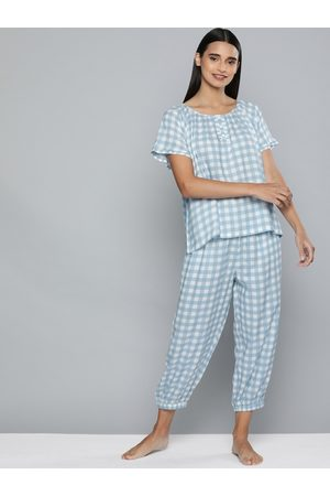 Chemistry Women Blue & White Checked Night suit