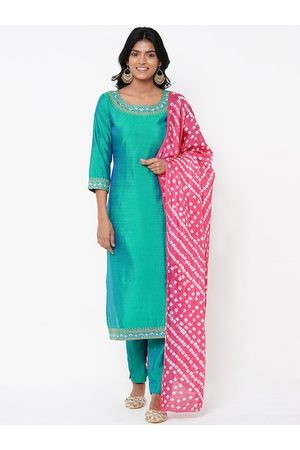 FASHOR Women Sea Green & Pink Solid Kurti with Salwar & Dupatta