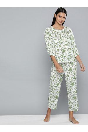 Chemistry Women Green & White Printed Night suit
