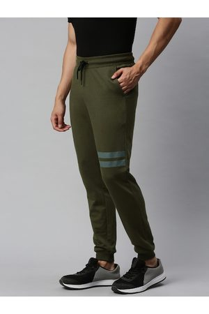 French Connection Men Olive Green Slim Fit Solid Joggers with Striped Detailing